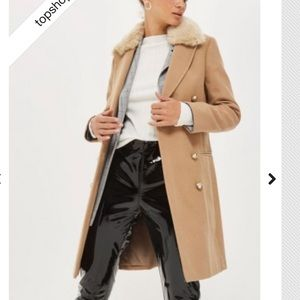 Topshop Double Breasted Faux Fur Collar Coat